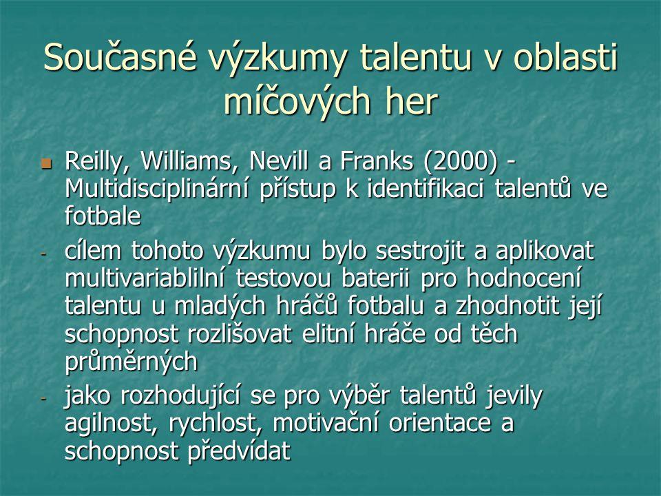 Současné výzkumy talentu v oblasti míčových her