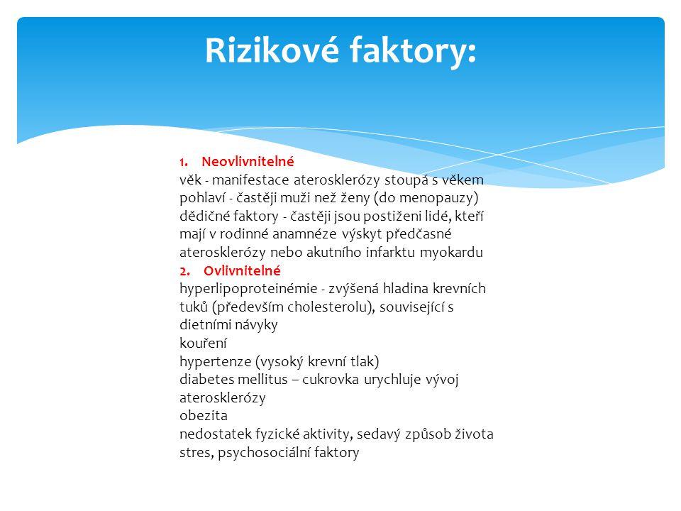 Rizikové faktory: 1. Neovlivnitelné