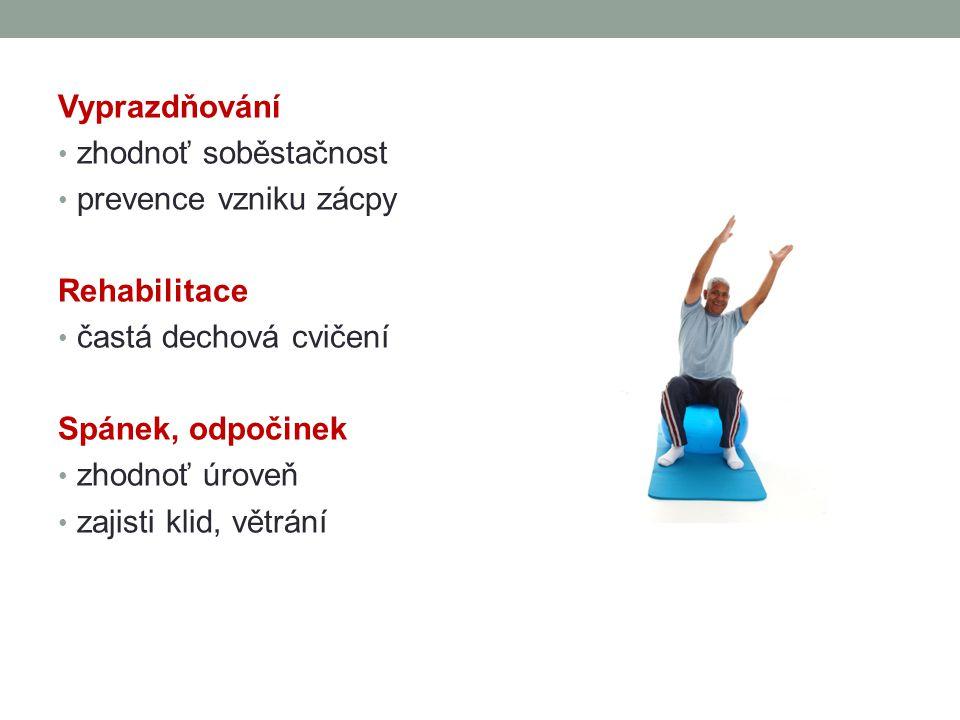 Vyprazdňování zhodnoť soběstačnost. prevence vzniku zácpy. Rehabilitace. častá dechová cvičení. Spánek, odpočinek.