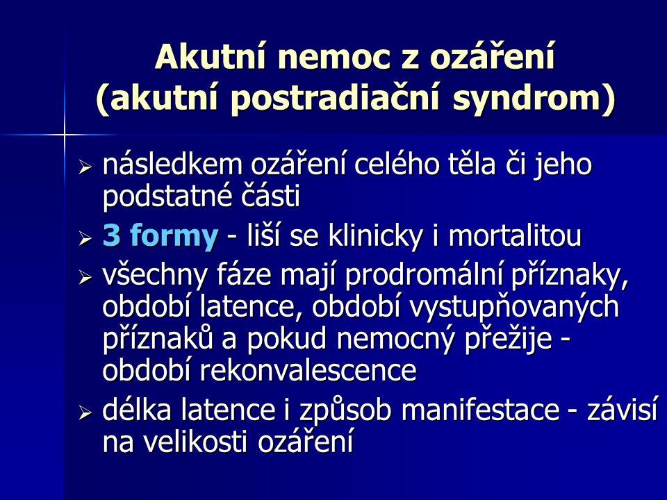 Akutní nemoc z ozáření (akutní postradiační syndrom)