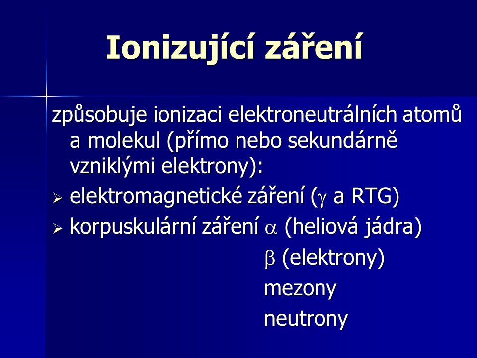 Ionizující záření způsobuje ionizaci elektroneutrálních atomů a molekul (přímo nebo sekundárně vzniklými elektrony):