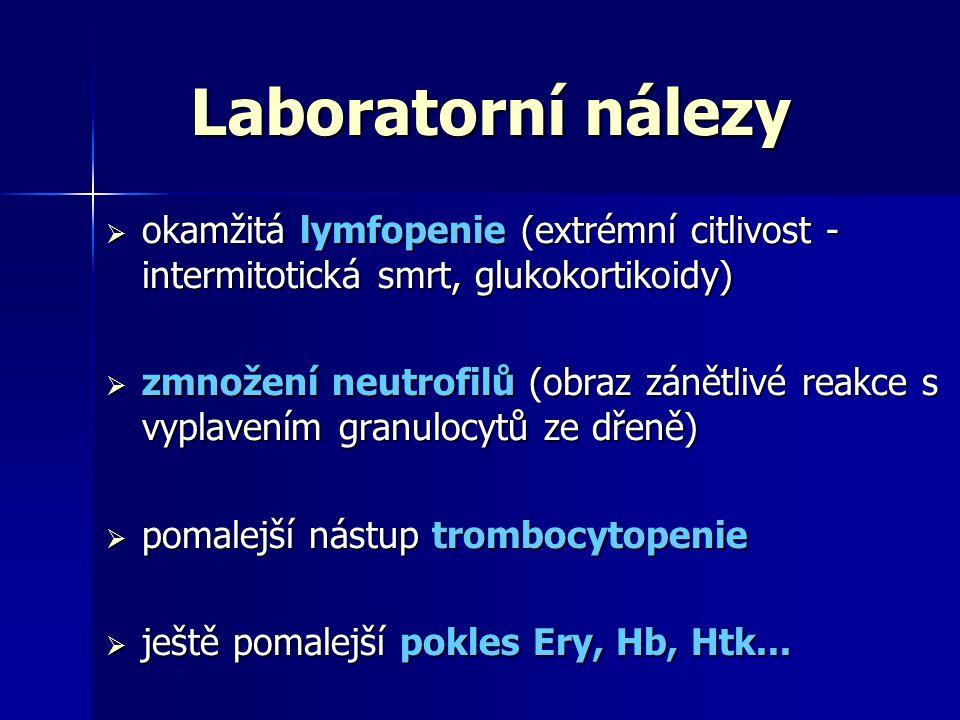 Laboratorní nálezy okamžitá lymfopenie (extrémní citlivost - intermitotická smrt, glukokortikoidy)