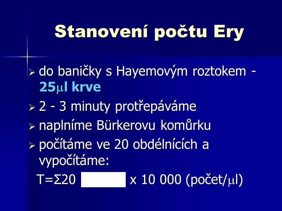 Stanovení počtu Ery do baničky s Hayemovým roztokem - 25l krve