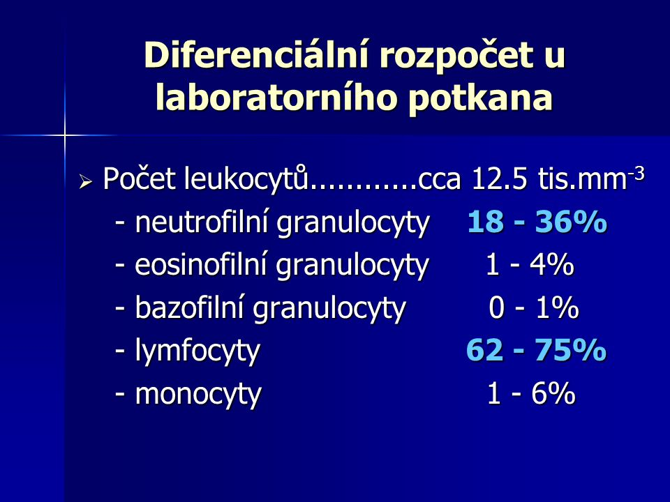 Diferenciální rozpočet u laboratorního potkana