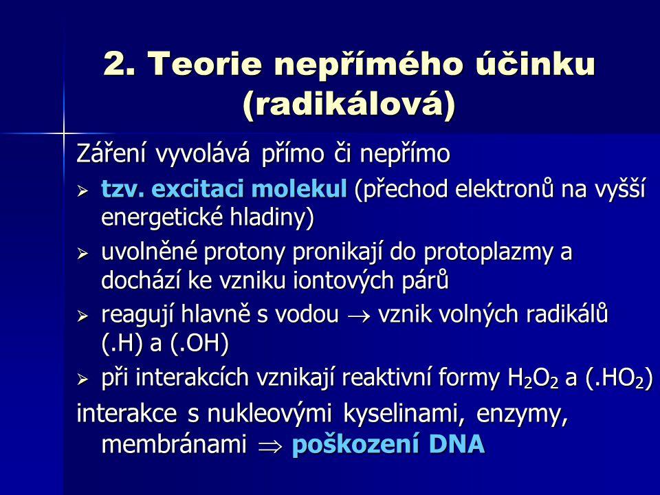 2. Teorie nepřímého účinku (radikálová)