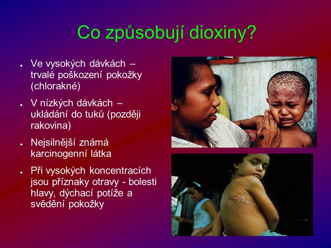Co způsobují dioxiny Ve vysokých dávkách – trvalé poškození pokožky (chlorakné) V nízkých dávkách – ukládání do tuků (později rakovina)