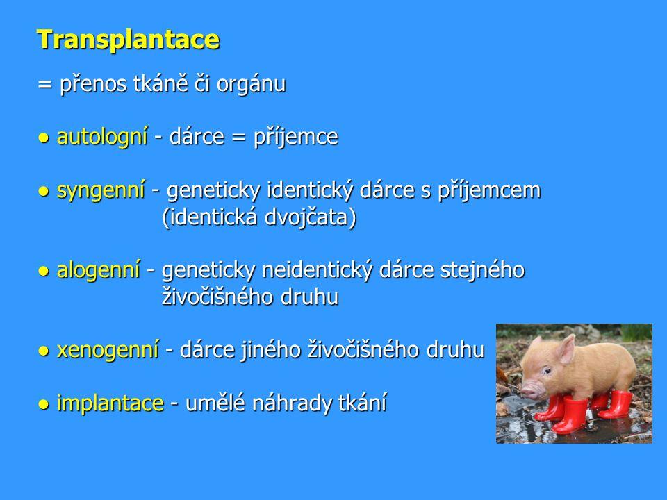 Transplantace = přenos tkáně či orgánu ● autologní - dárce = příjemce ● syngenní - geneticky identický dárce s příjemcem (identická dvojčata) ● alogenní - geneticky neidentický dárce stejného živočišného druhu ● xenogenní - dárce jiného živočišného druhu ● implantace - umělé náhrady tkání