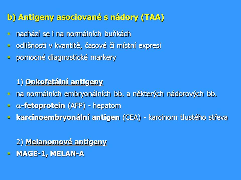 b) Antigeny asociované s nádory (TAA)