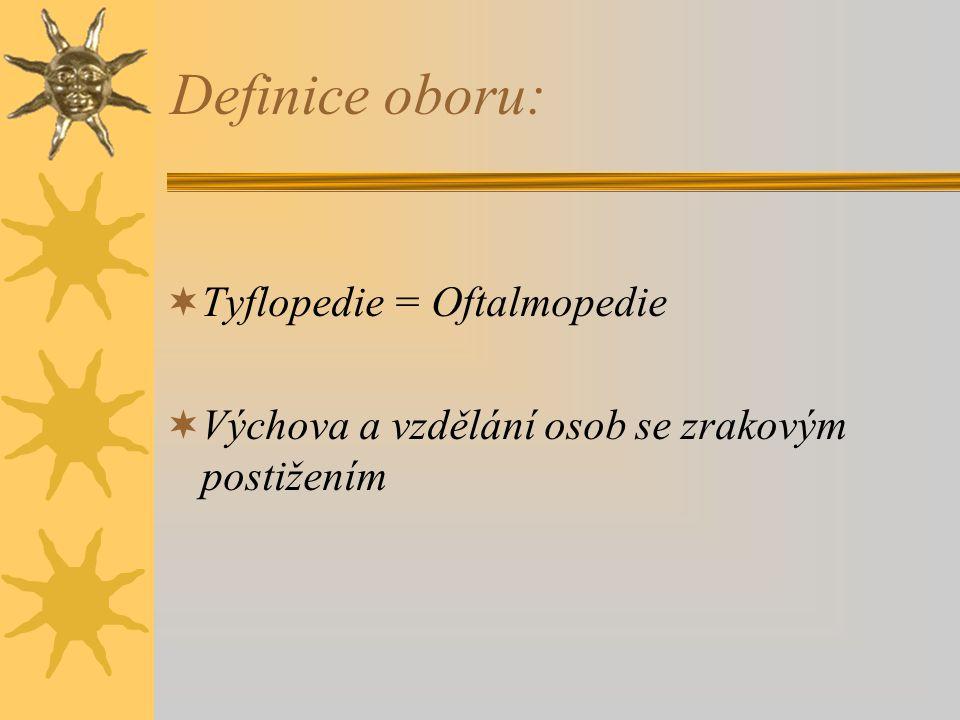 Definice oboru: Tyflopedie = Oftalmopedie