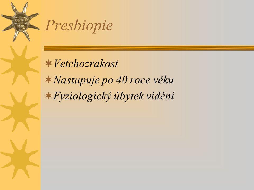 Presbiopie Vetchozrakost Nastupuje po 40 roce věku