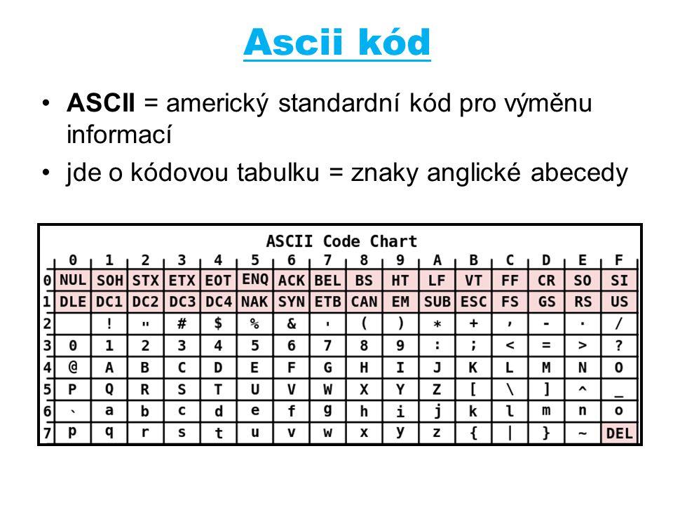 Ascii kód ASCII = americký standardní kód pro výměnu informací