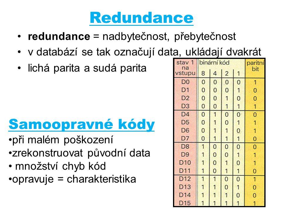 Redundance Samoopravné kódy redundance = nadbytečnost, přebytečnost
