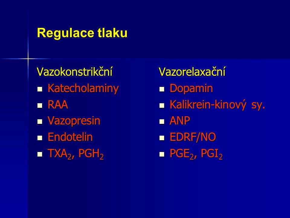 Regulace tlaku Vazokonstrikční Katecholaminy RAA Vazopresin Endotelin