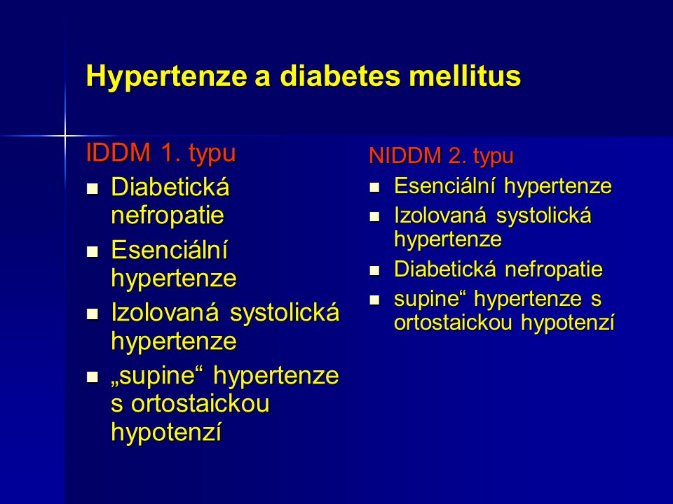Hypertenze a diabetes mellitus