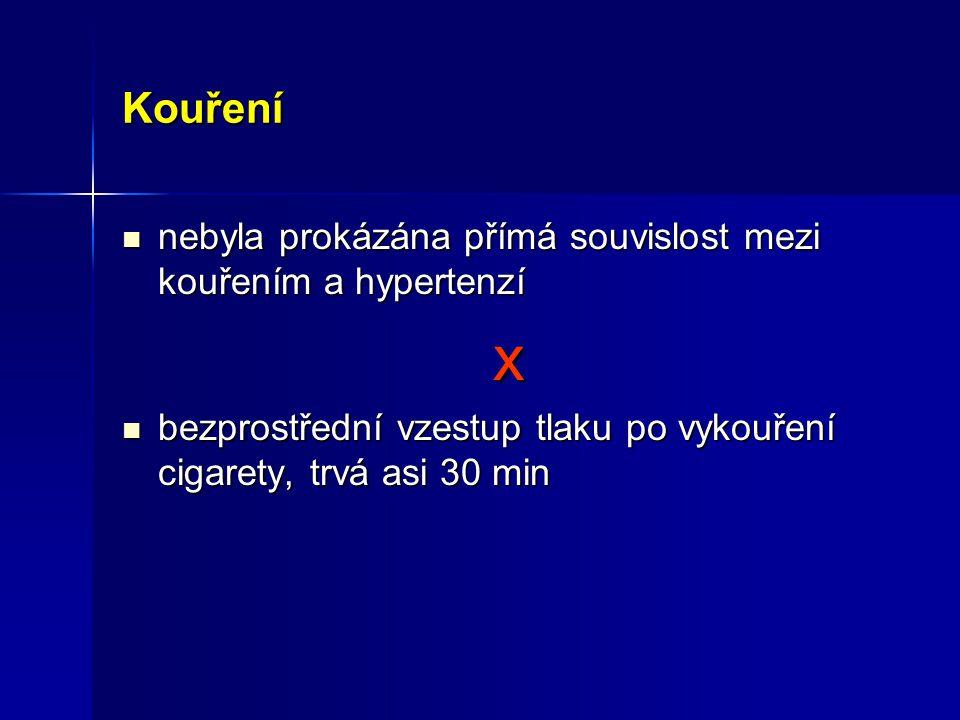 x Kouření nebyla prokázána přímá souvislost mezi kouřením a hypertenzí