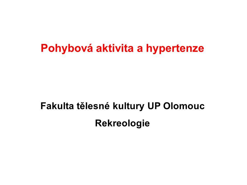 Pohybová aktivita a hypertenze Fakulta tělesné kultury UP Olomouc