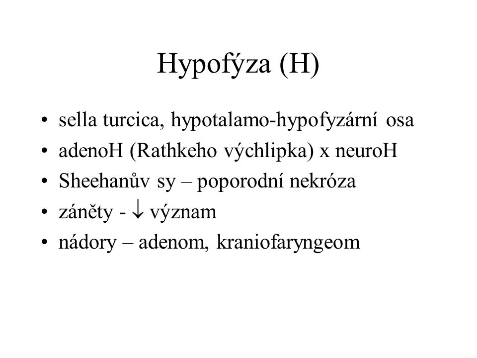 Hypofýza (H) sella turcica, hypotalamo-hypofyzární osa
