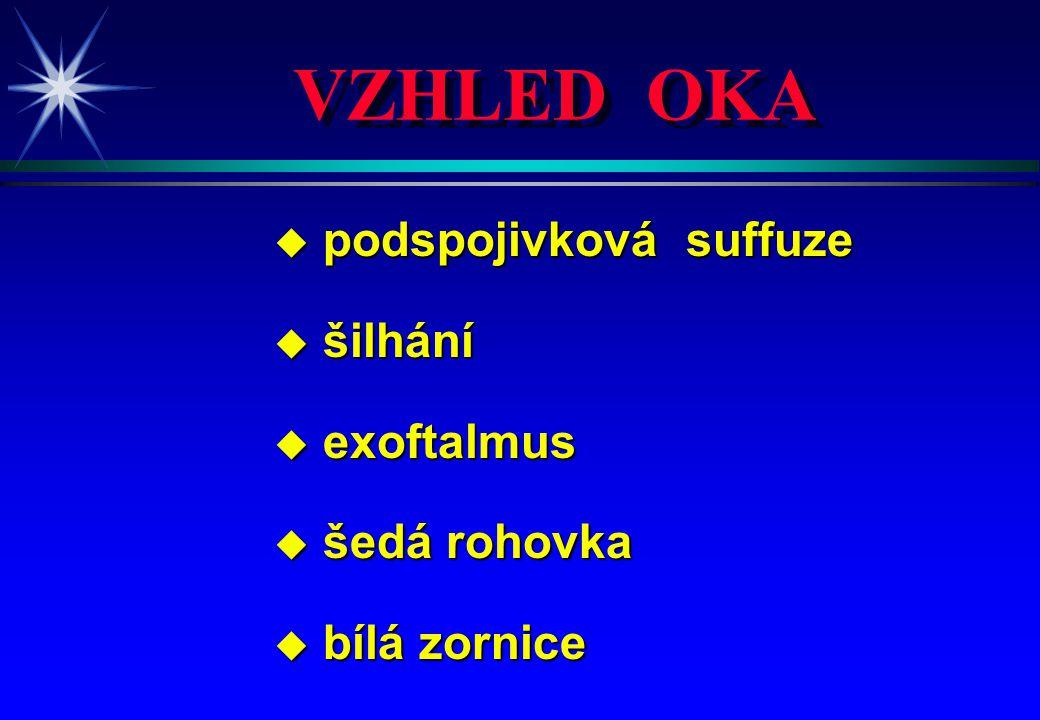 VZHLED OKA podspojivková suffuze šilhání exoftalmus šedá rohovka