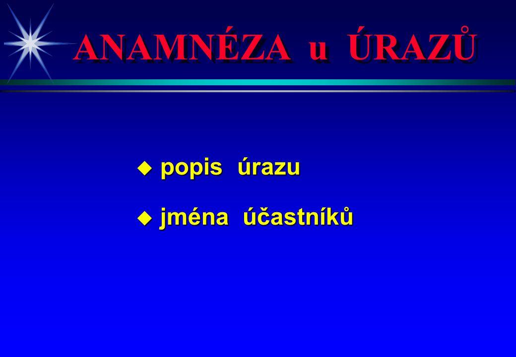 ANAMNÉZA u ÚRAZŮ popis úrazu jména účastníků 4