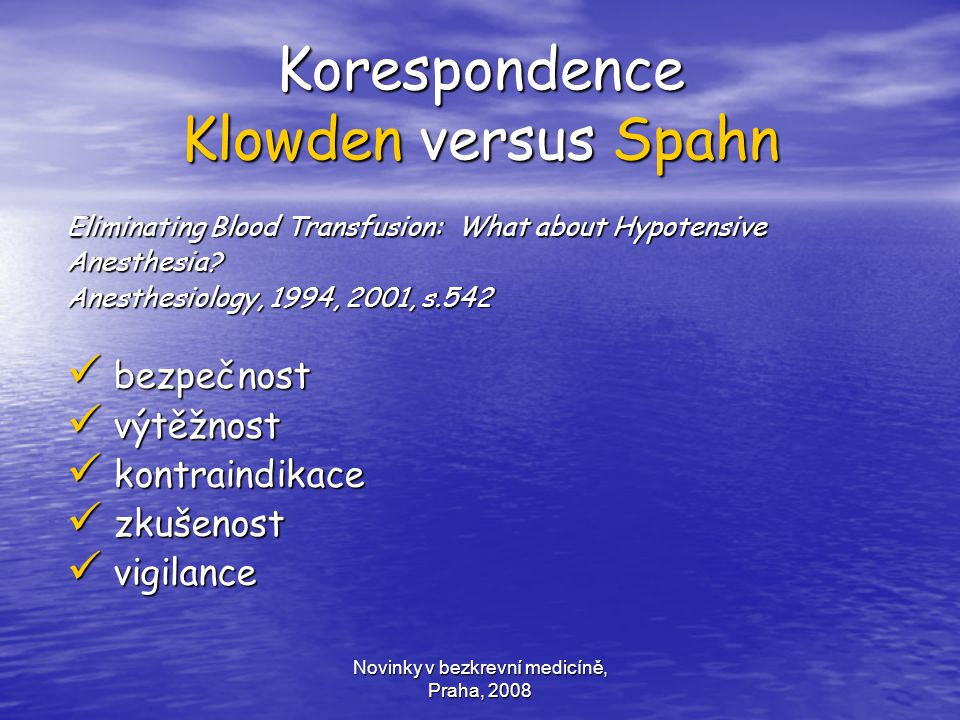 Korespondence Klowden versus Spahn