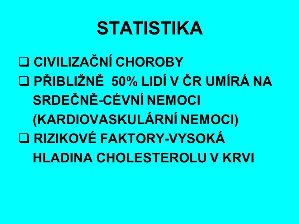 STATISTIKA CIVILIZAČNÍ CHOROBY PŘIBLIŽNĚ 50% LIDÍ V ČR UMÍRÁ NA