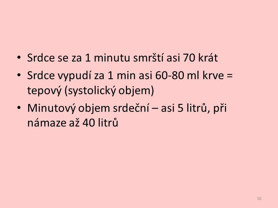 Srdce se za 1 minutu smrští asi 70 krát