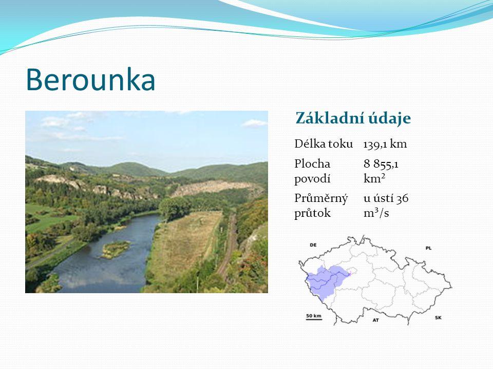 Berounka Základní údaje Délka toku 139,1 km Plocha povodí 8 855,1 km²