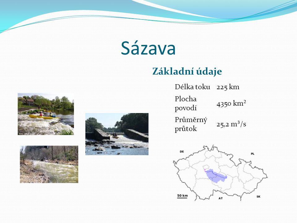 Sázava Základní údaje Délka toku 225 km Plocha povodí 4350 km²