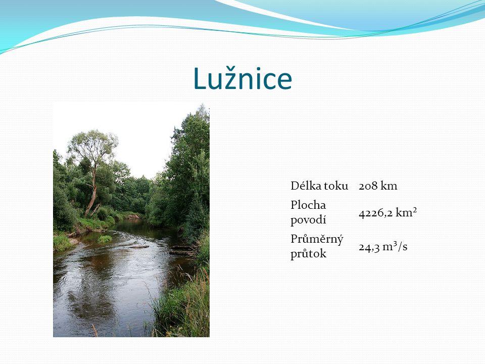 Lužnice Délka toku 208 km Plocha povodí 4226,2 km² Průměrný průtok