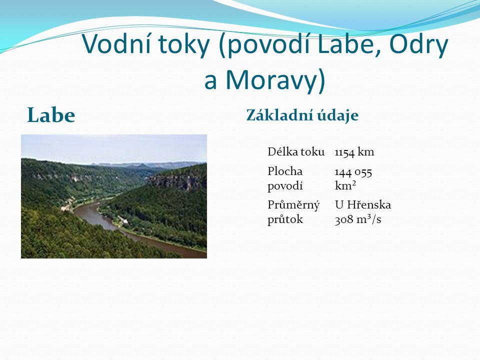 Vodní toky (povodí Labe, Odry a Moravy)
