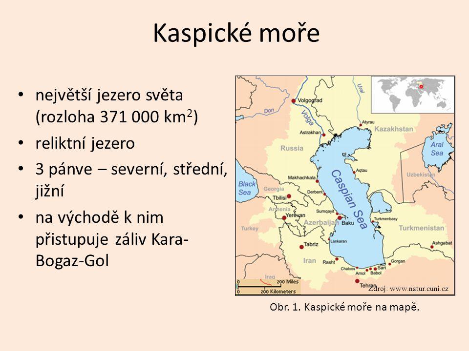 Kaspické moře největší jezero světa (rozloha 371 000 km2)