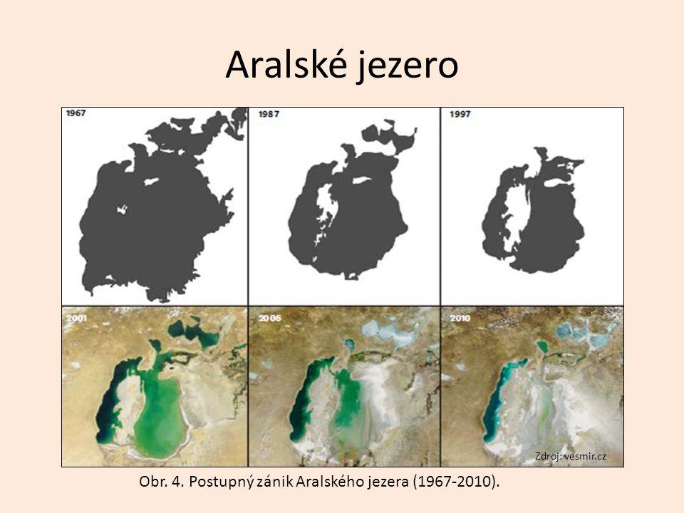 Aralské jezero Obr. 4. Postupný zánik Aralského jezera (1967-2010).