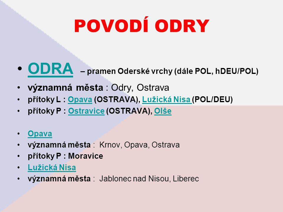 POVODÍ ODRY ODRA – pramen Oderské vrchy (dále POL, hDEU/POL)