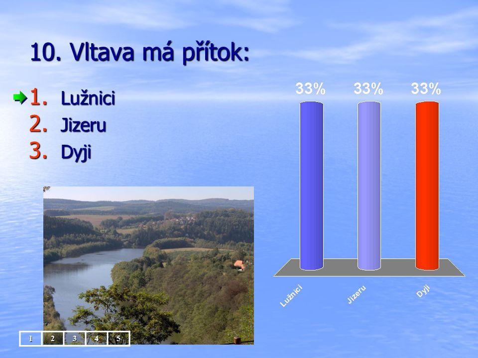 10. Vltava má přítok: Lužnici Jizeru Dyji 1 2 3 4 5