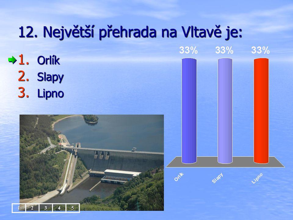 12. Největší přehrada na Vltavě je: