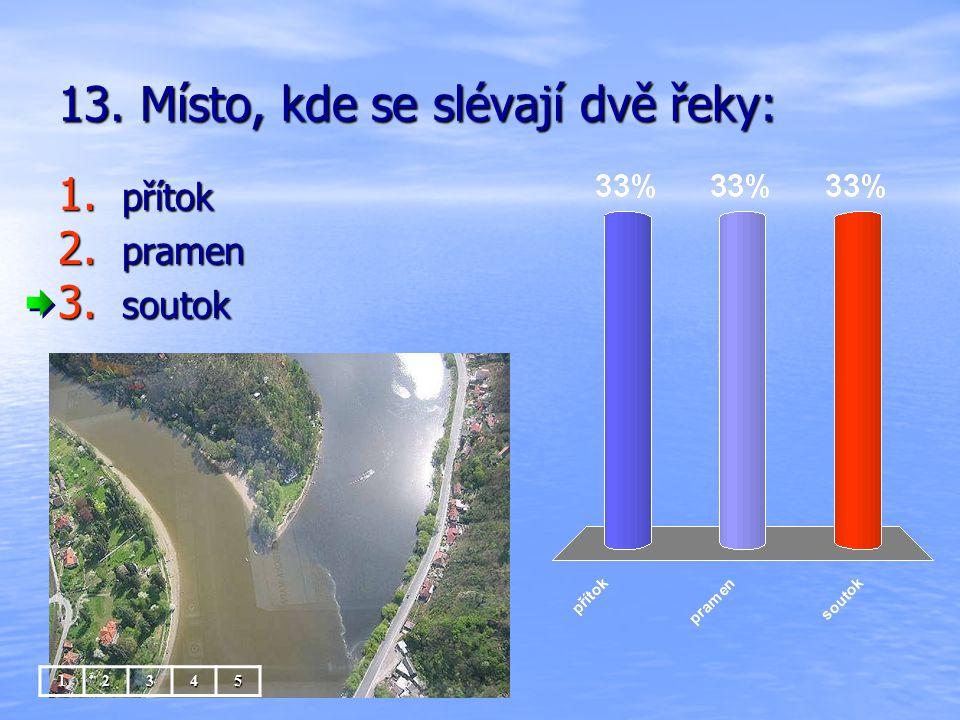 13. Místo, kde se slévají dvě řeky: