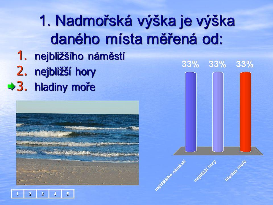 1. Nadmořská výška je výška daného místa měřená od: