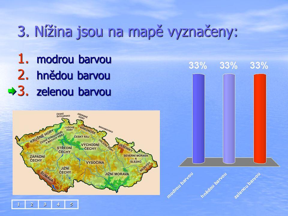3. Nížina jsou na mapě vyznačeny: