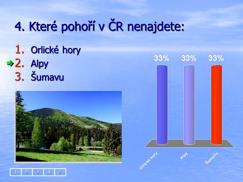 4. Které pohoří v ČR nenajdete: