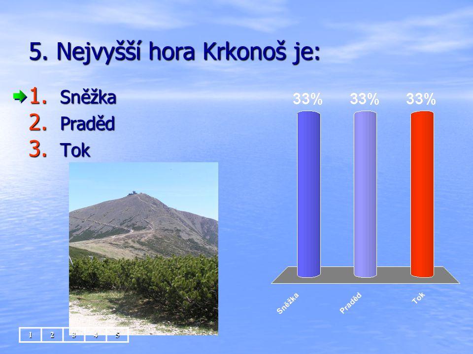 5. Nejvyšší hora Krkonoš je: