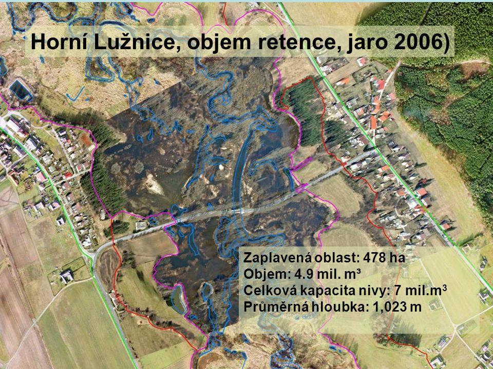 Horní Lužnice, objem retence, jaro 2006)