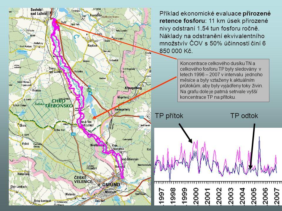 Příklad ekonomické evaluace přirozené retence fosforu: 11 km úsek přirozené nivy odstraní 1.54 tun fosforu ročně. Náklady na odstranění ekvivalentního množstvív ČOV s 50% účinností činí 6 850 000 Kč.