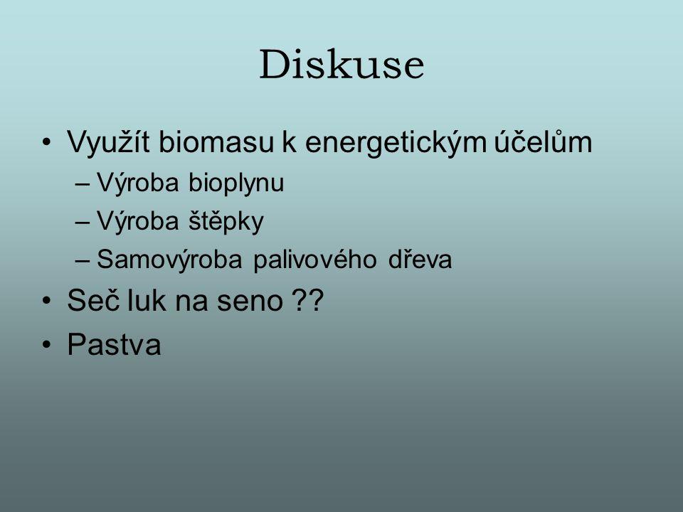 Diskuse Využít biomasu k energetickým účelům Seč luk na seno Pastva