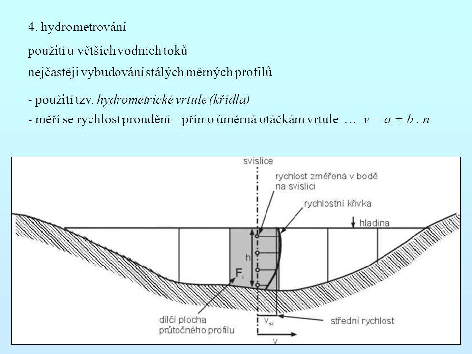 4. hydrometrování použití u větších vodních toků. nejčastěji vybudování stálých měrných profilů. - použití tzv. hydrometrické vrtule (křídla)