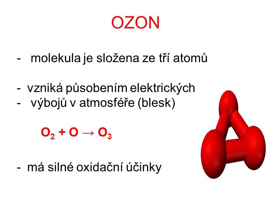 OZON molekula je složena ze tří atomů vzniká působením elektrických