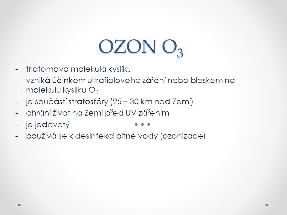 OZON O3 tříatomová molekula kyslíku