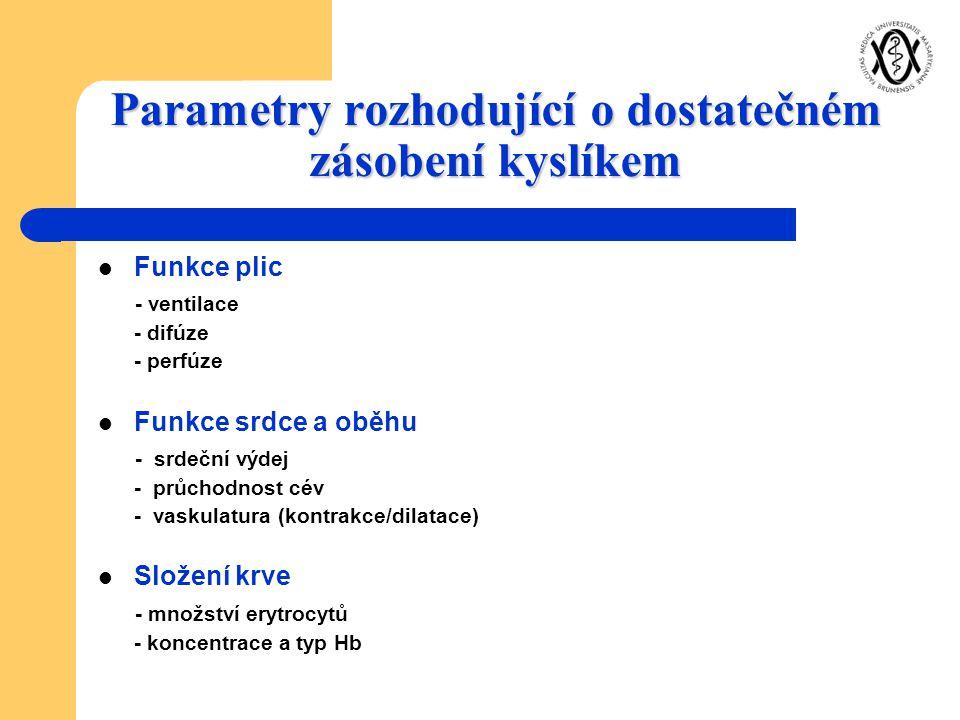 Parametry rozhodující o dostatečném zásobení kyslíkem