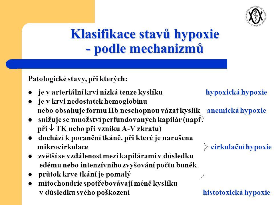 Klasifikace stavů hypoxie - podle mechanizmů