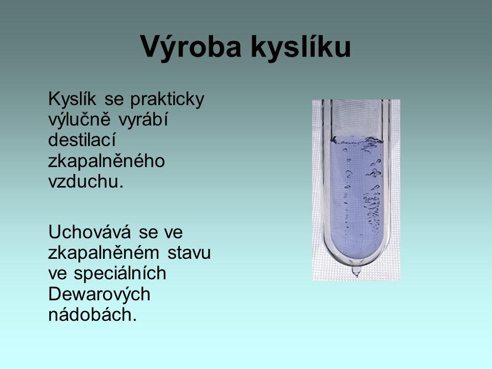 Výroba kyslíku Kyslík se prakticky výlučně vyrábí destilací zkapalněného vzduchu.