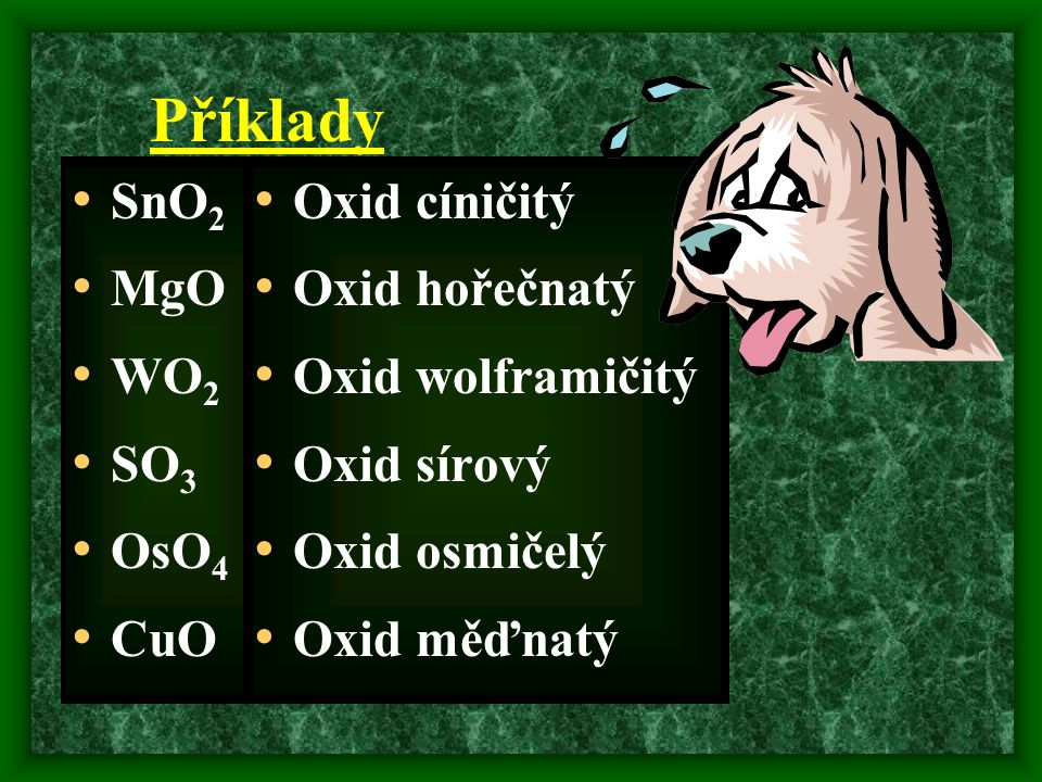 Příklady SnO2 MgO WO2 SO3 OsO4 CuO Oxid cíničitý Oxid hořečnatý
